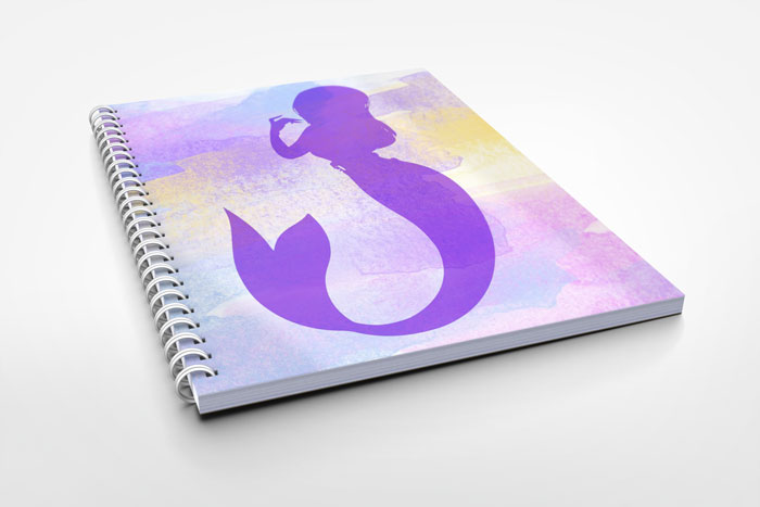 notebook with mermaid cover design