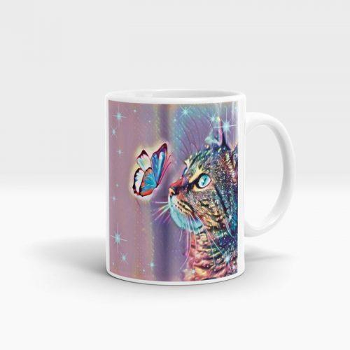 Mug with cat artwork print