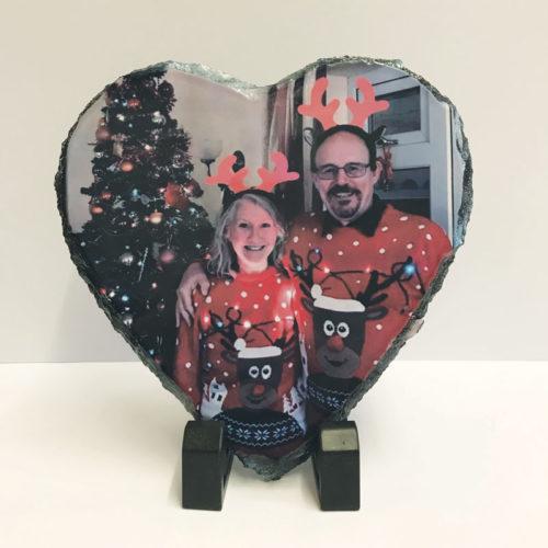 custom photo rock slate heart shape