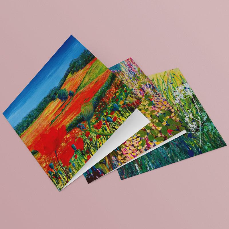 floral paintings on greetings cards