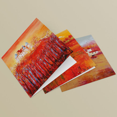 watercolour paintings of french landscapes on greetings cards