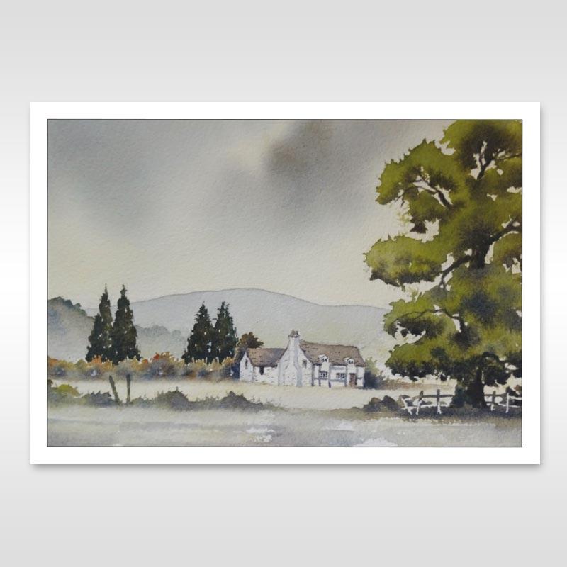 mathon painting on postcard
