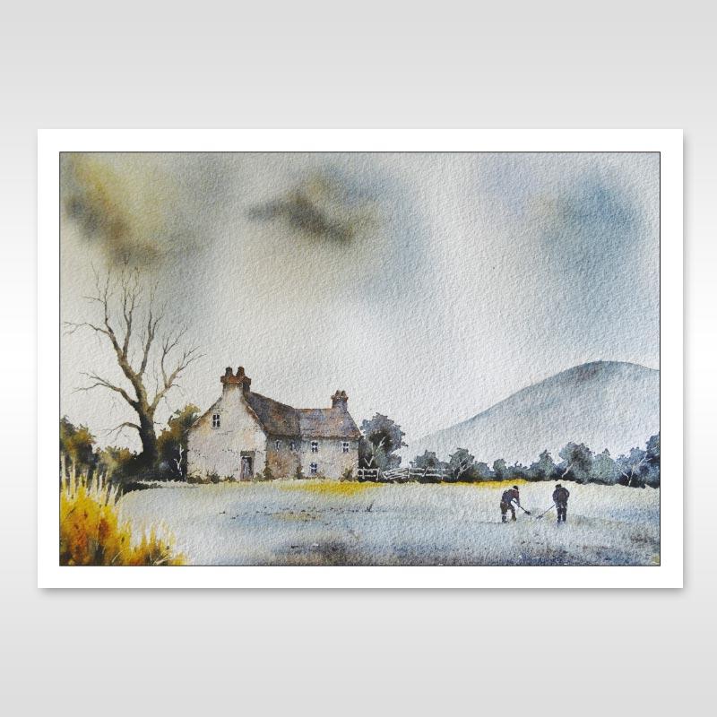 malvern farm watercolour painting