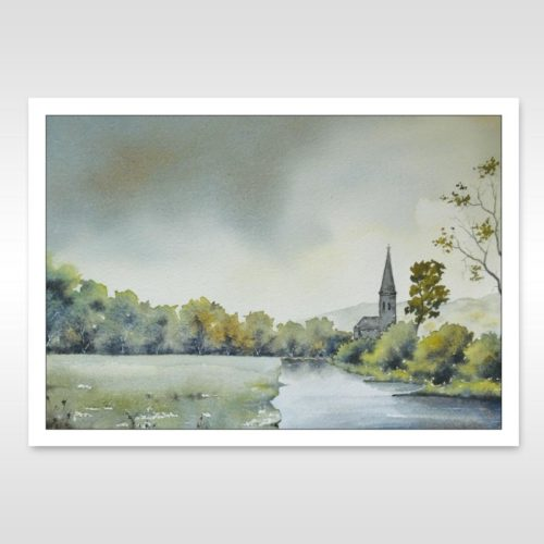 wye valley watercolour painting