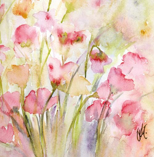 sweetpeas painted art