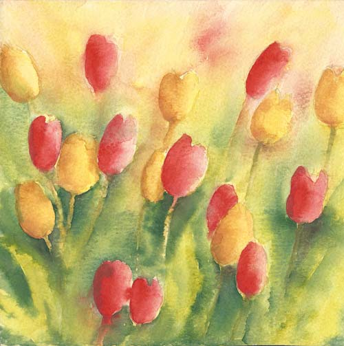 red yellow tulips painting